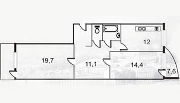 Планировка Двухкомнатная квартира площадью 71.7 кв.м в ЖК «Южная долина»